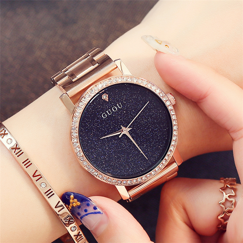 Watches Women Luxury Brand GUOU Rhinestone Case Quartz Wristwatches Casual Fashion Sport Stainless Steel Strap Clock Gifts esveva 2018 women boots sweet style zippers square high heels pointed toe ankle boots chunky short plush ladies shoes size 34 39