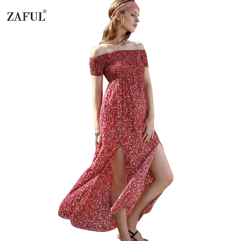 ZAFUL Summer Women Dress Bohemian Sexy split hem short sleeve Off shoulder  red Print Woman long Maxi Dresses Feminino Vestidos-in Dresses from Women's  ...