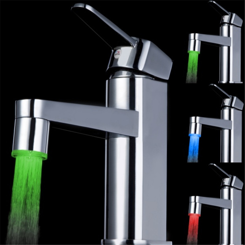 ABS Glow LED faucet tap Temperature Sensor LED faucet light+adapter no need battery Aerator power dropshipping
