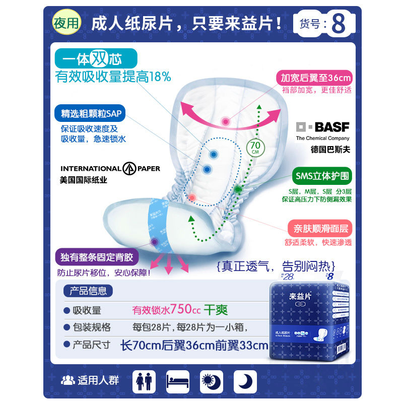 Free Shipping FUUBUU-3387 28pcs Increase The Thickening Of Adult Diapers / Diaper Pad Man/incontinence Shaped Pads 68*36*30cm