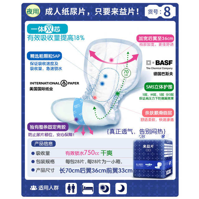 placeholder Free Shipping FUUBUU-3387 28pcs Increase the thickening of adult  diapers / diaper pad man