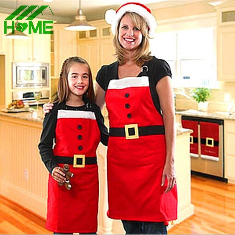 Briljant Leuke Katoen Kerst Kerstman Schort Navidad Natal Patronen Grappige Sexy Vrouwen Kids Kind Chef Koken Keuken Diner Schorten Mooie Glans