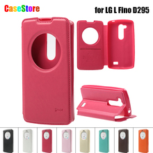 For LG D295 Case ROAR KOREA Noble Circle View Flip Leather Wallet Phone Cover for LG L Fino D295 D290N Stand Retail Package