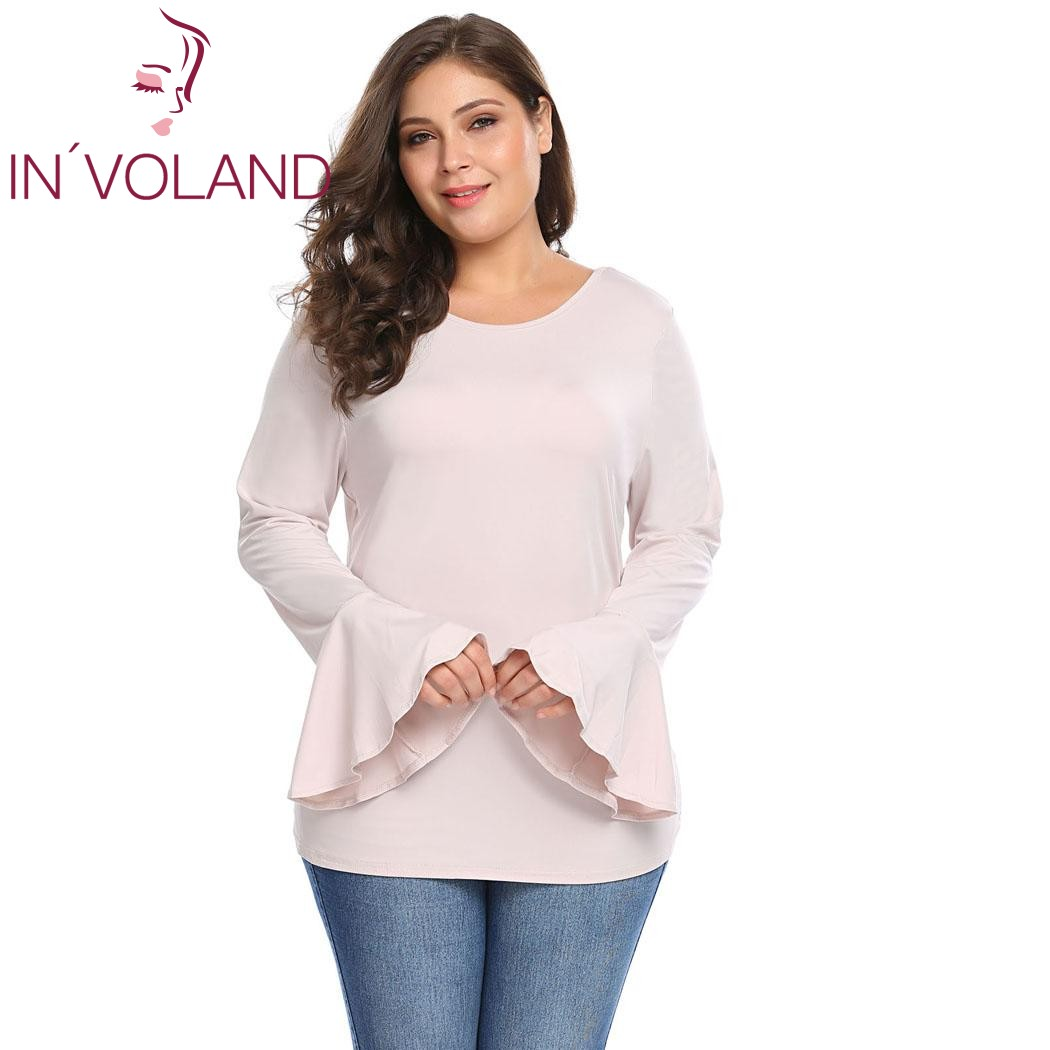 IN'VOLAND Women T-Shirts Tops Plus Sizes XL-6XL Autumn O-Neck Long Bell Sleeve Solid Large Tshirt Pullovers Casual Tee Big Size
