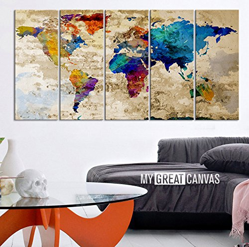 World map canvas print contemporary 5 panel colorful abstract world map canvas print contemporary 5 panel colorful abstract rainbow colors large wall art in painting calligraphy from home garden on aliexpress gumiabroncs Gallery