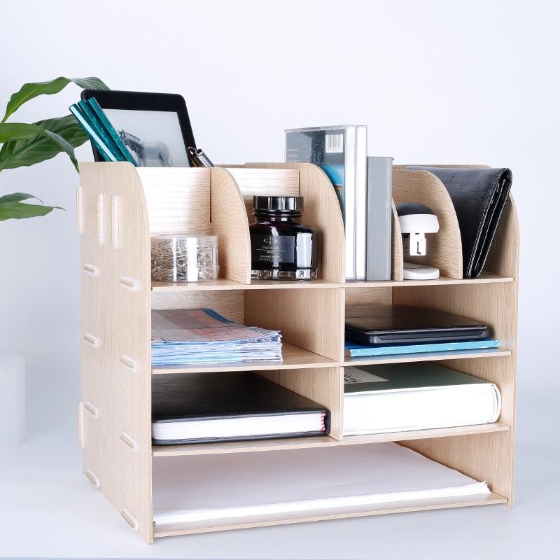Creative Multi-funkční stolní organizátor přírodní dřevo Office File / neděle skladovací držitele barevné 4 vrstvy knihy police