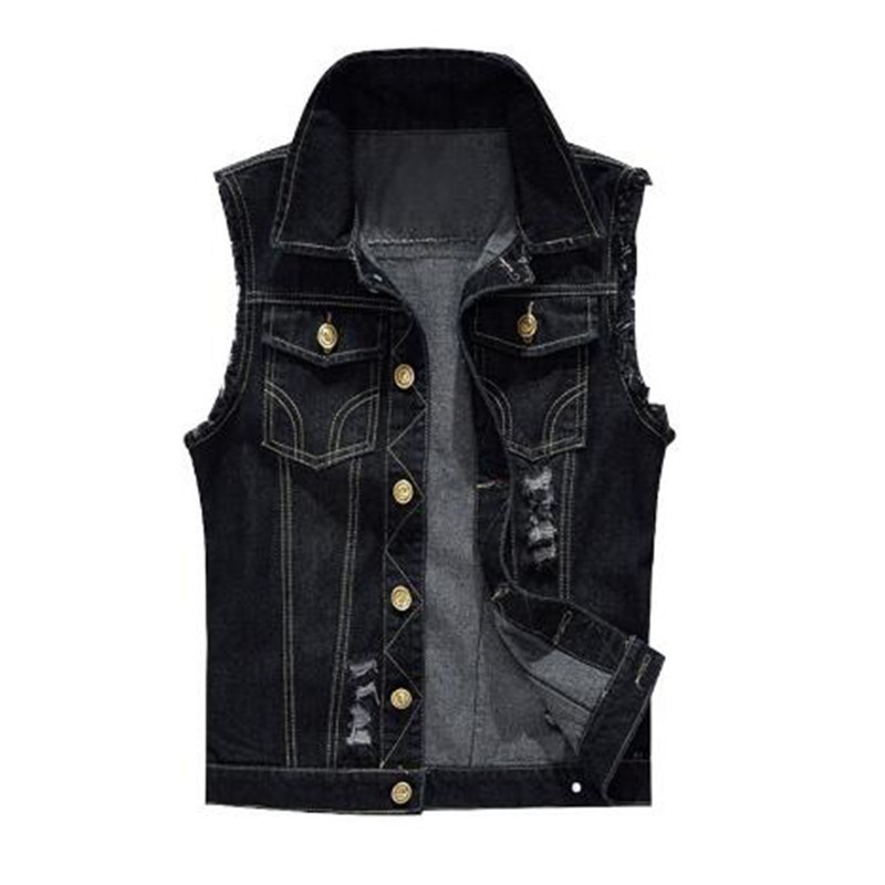 Slim  Male Jeans Sleeveless Jacket Vest Men Plus Size 6XL Black Denim Jeans Vest Male Cowboy Outdoors Waistcoat Mens Jacket