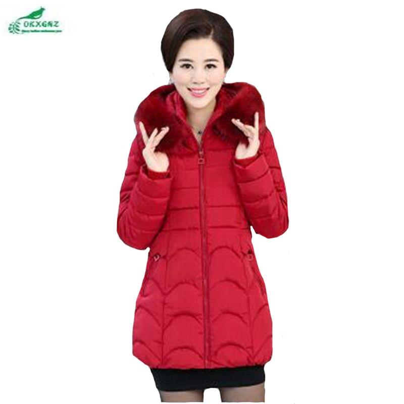 OKXGNZ Winter Women Clothing Coat 2017 New Pure color Big yards Leisure Coat Medium long Thickening