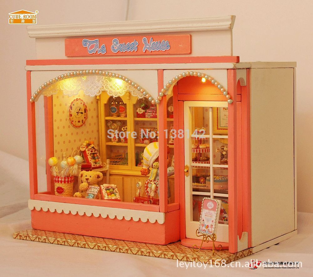E002 Candy store Giant diy dollhouse miniature european retailer doll home led lights picket free delivery
