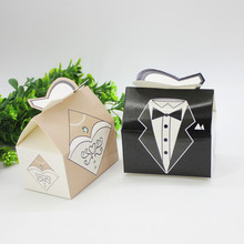 25 Pairs Bride Dress&Bridegroom Suit Design Wedding Candy Box Packaging Box DIY Gift Box for Wedding Party