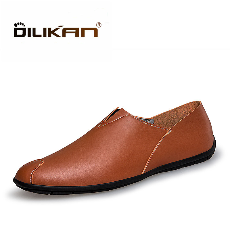 DILIKAN Fashion Design Superstar Breathable Leather Shoes Men Outdoor Walking Men Casual Shoes Slip On Driving Loafers Men Flat fashion nature leather men casual shoes light breathable flats shoes slip on walking driving loafers zapatos hombre