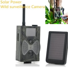 Solar Powered Digital Hunting Trail Camera Trap Photo MMS GPRS GSM Night Version Hunting Camera 940nm Black LED Invisible HC300M(China)