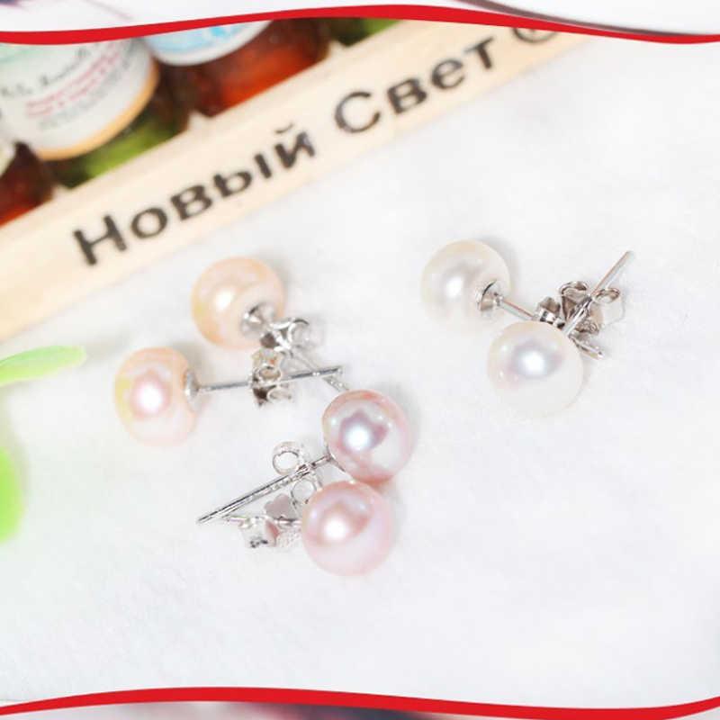FENASY natural Pearl earrings,925 Sterling Silver earrings,wedding Engagement Jewelry,fine jewelry two pairs cute stud earrings