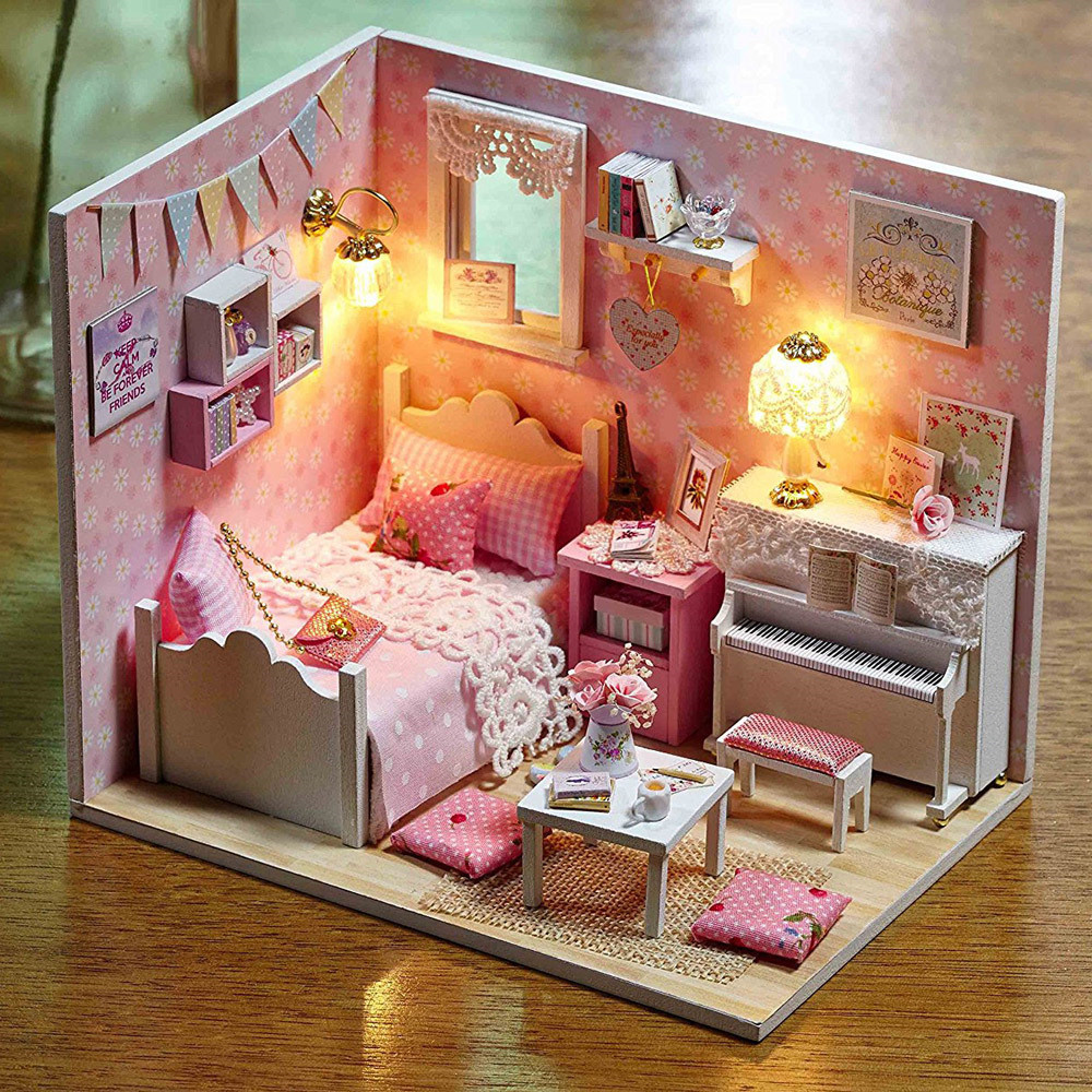 Doll House Furniture 3D DIY Toys for Girls Birthday presents Wooden Miniaturas Dollhouse Toys With LED Light Gifts sun princess