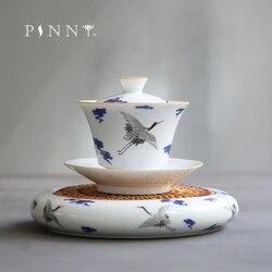 Pinny 110 ml azul e branco porcelana gaiwan cerâmica chá tureen pote rolamento chinês kung fu serviço de chá feito à mão tigela de chá