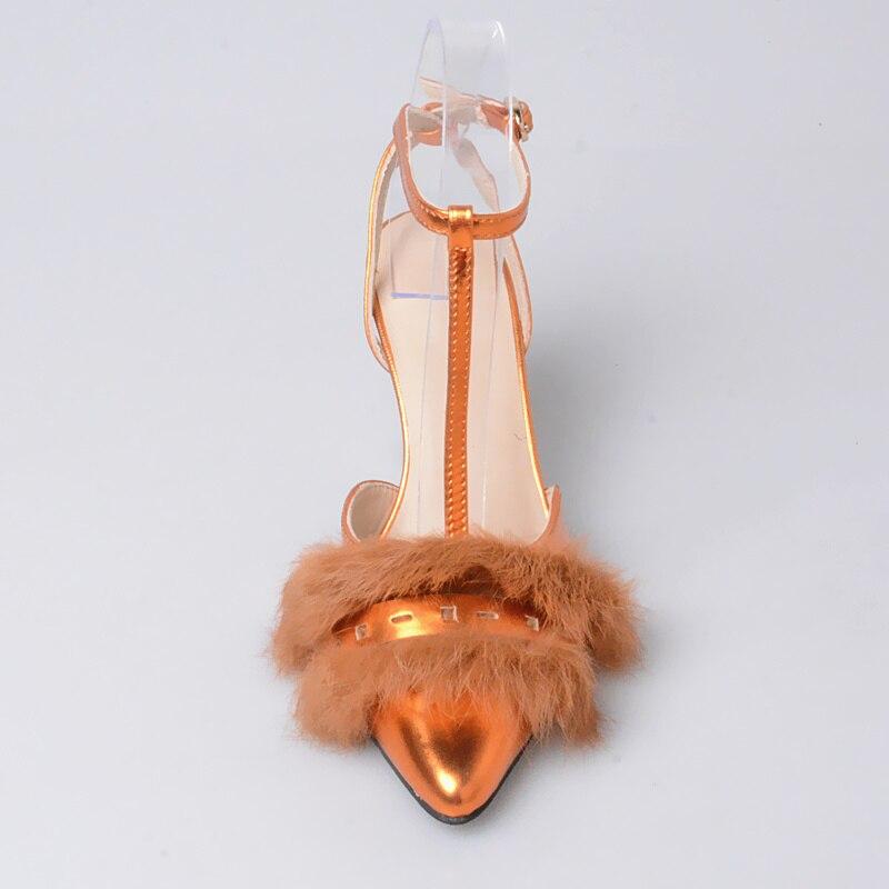 Con Cuero Decoración Piel Punta Genuino Alto Mujer Tacón silver strap Perfetto Puntiaguda Zapatos Sandalias De Hebilla Orange Diseño Nuevo Prova T 7wOPgqI6X