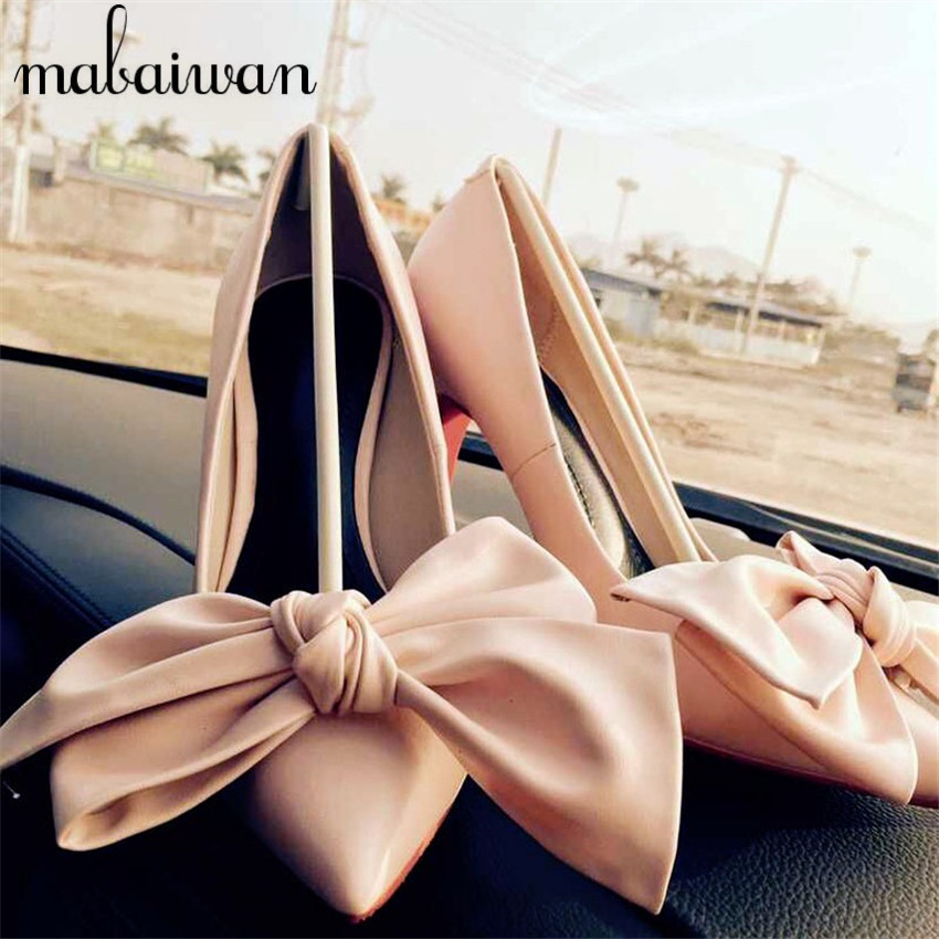 Sweet Bowtie Slip On Women Pumps Sexy High Heels Wedding Dress Shoes Woman Summer Soft Leather Ladies Shoe Zapatos Mujer sweet women high quality bowtie pointed toe flock flat shoes women casual summer ladies slip on casual zapatos mujer bt123