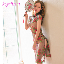 Exotic Sexy Underwear Chinese Style Cheongsam Perspective Embroidered Tight Embroidery Uniform