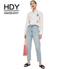 HDY Haoduoyi Women Embroidery Floral Blouse Turn-down Collar Long Sleeve Brief Loose Casual 2019 New Arrival Tops for Female
