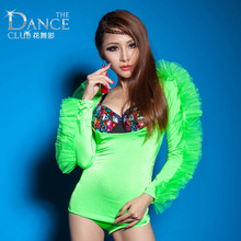 female sexy costumes bodysuit nightclub dancer green black party show dj ds stage loaded bar bright big costume singer prom