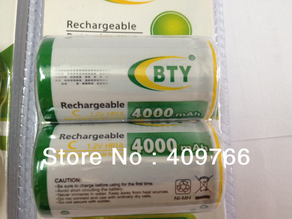 2PCS/LOT BTY C Size high-capacity NI-MH 4000mAh 1.2V Rechargeable batteries battery pack battery rechargeable 2pcs/pack