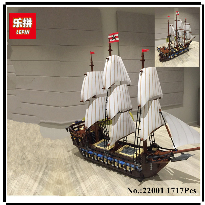 IN STOCK NEW LEPIN 22001 Pirate Ship Imperial warships Model Building Kits Block Briks Toys Gift 1717pcs Compatible 10210 cl fun new pirate ship imperial warships model building kits block briks boy toys gift 1717pcs compatible 10210