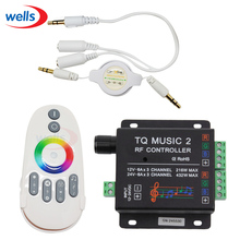 цена  New DC12V 24V 18A 3 Channel TQ Music 2 RGB LED Remote Controller RF Music Audio control  for SMD 3528 5050 5630 Led Strip Light