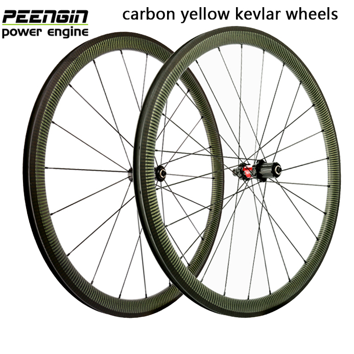 Top configuration carbon 88mm wheelset clincher 60mm 38mm yellow kevlar golden eyes wheels 50mm DT 240s/350s sapim CX-ray spoke farsports fsc38 tm 23 carbon cycling wheels 23mm 38mm tubular rims dt 240s hubs with sapim cx ray spokes total 1189g per set