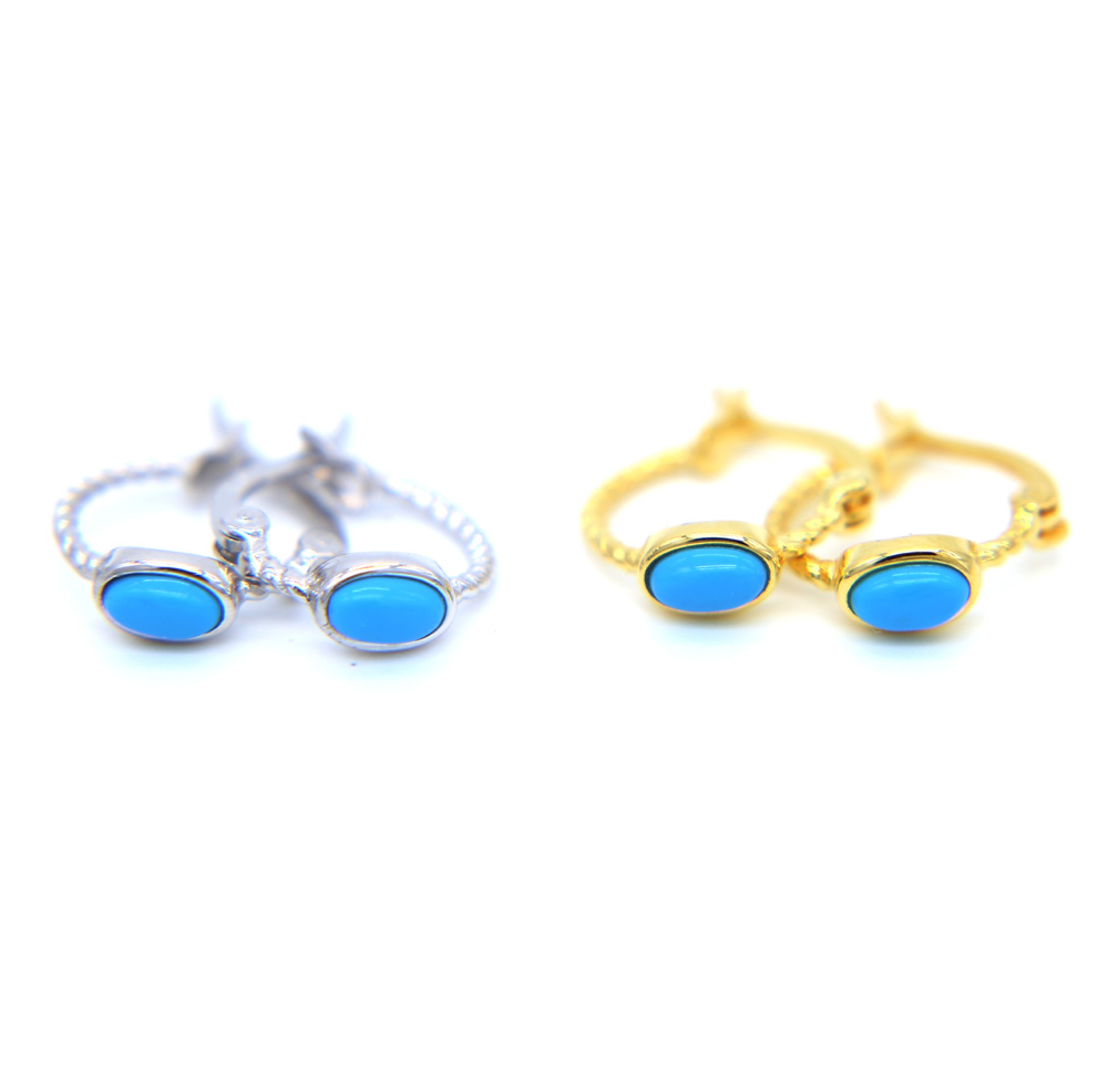 authentic 100% 925 Sterling Silver delicate turquoises stone Minimal anti allergy clip on studs girs gold color earrings