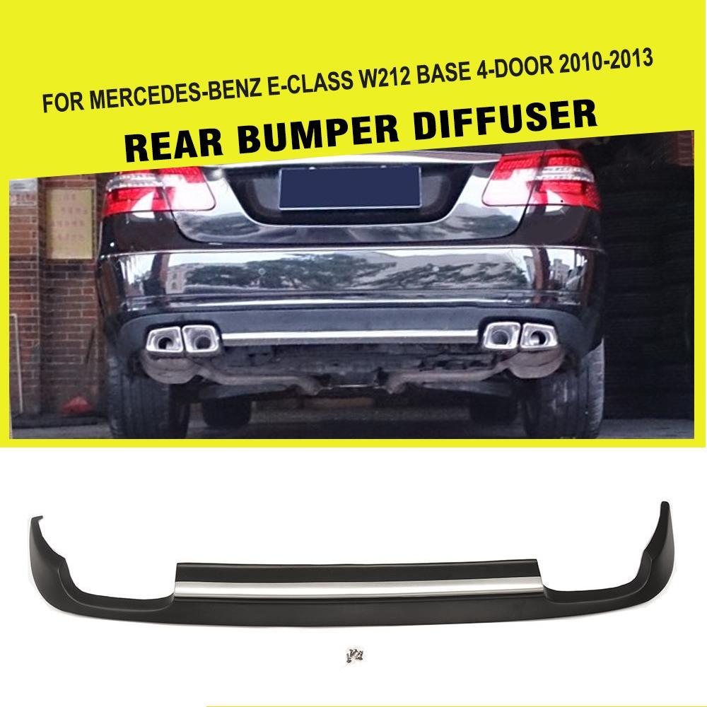 PU マットブラック車のリアリップディフューザー明るいストリップベンツ E クラス W212 標準バンパー 2010  2013 デュアル排気 2 つの出口|rear lip|diffuser rearlips for car -
