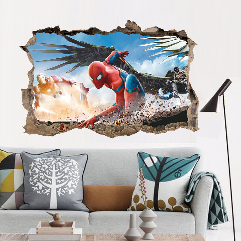 % 3d spiderman iron man wall stickers for kids rooms cartoon decorative wall decals diy poster art pvc mural art boys gift