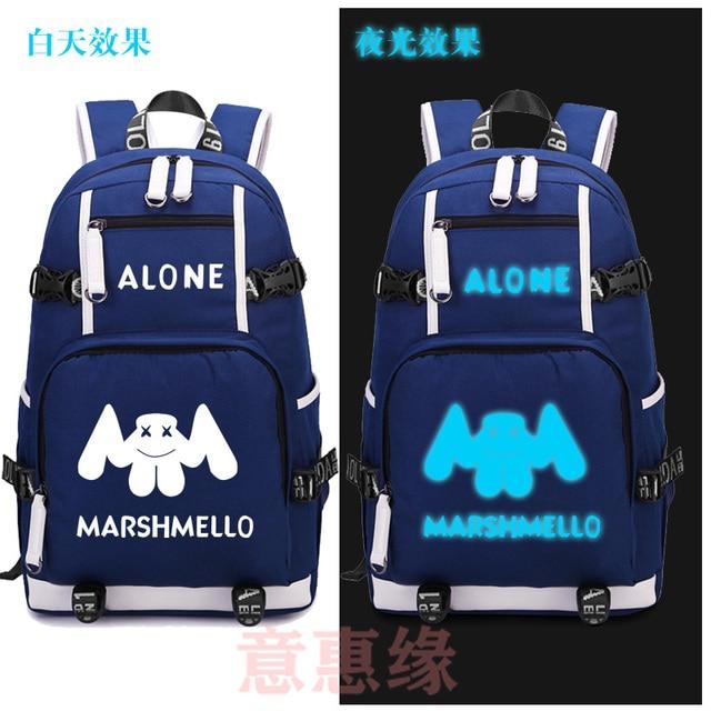86d3451613 marshmello Backpack Cosplay DJ Alone Luminous Canvas Bag Schoolbag Travel  Bags