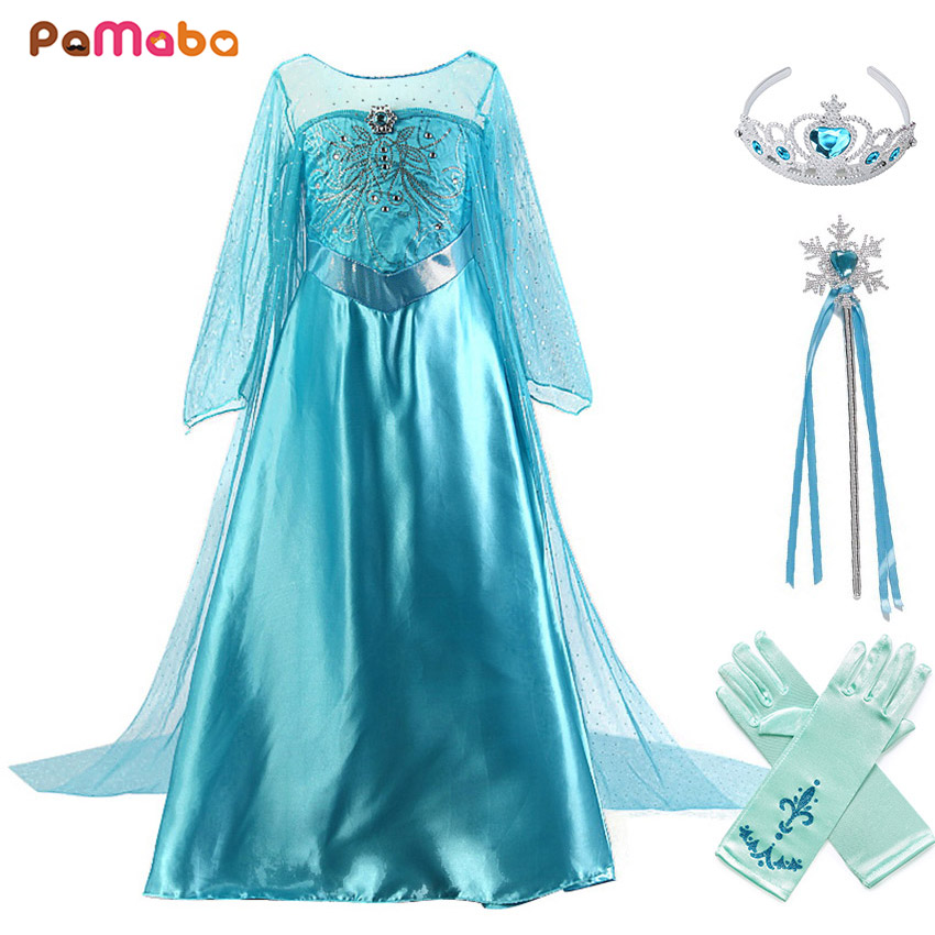 PaMaBa Girls Queen Elsa Dress-up Outfit Crystal Rhinestone Embellished Elsa Princess Dresses with Long Train Fancy Elsa Costumes