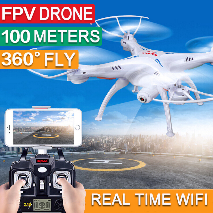 ФОТО With 5pcs batteries Hot Sales SYMA X5SW FPV Drone with Camera X5C Original X5SW-1 HD 2.0MP WIFI RC drone 2.4G 6-Axis dron X5C
