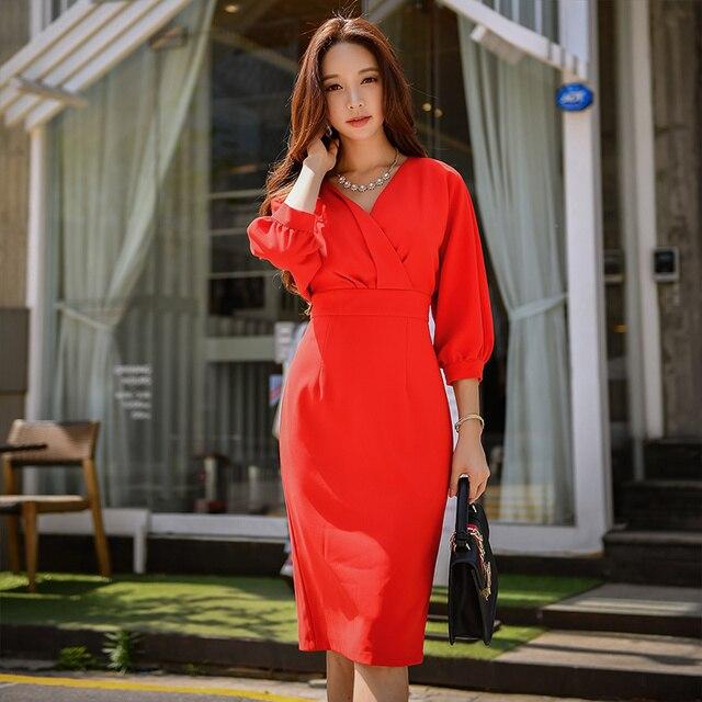 Dabuwawa femmes élégant rouge col en v élégant robe printemps nouveau longue moulante Midi robe lanterne manches robes de fête décontracté