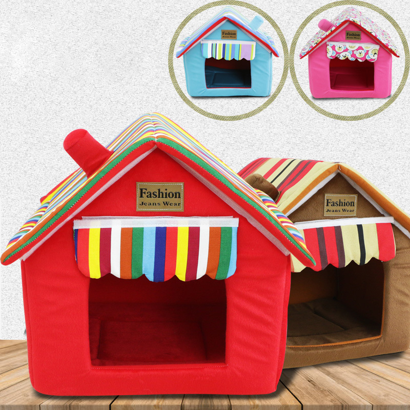 Jormel Striped Removable Cover Mat Dog House Dog Beds For Small Medium Dogs Pet Products House 4 Colors Pet Beds for Cat Dog in Houses Kennels Pens from Home Garden
