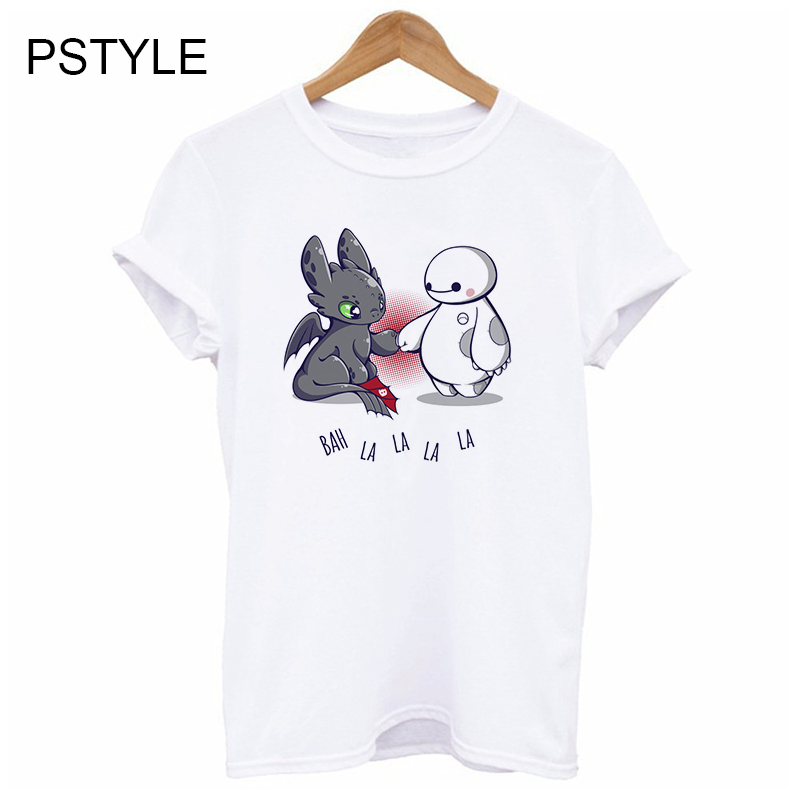 Dragon Chaser Toothless Cartoon Print Tshirt Women Summer Short Sleeve O-neck Casual White T Shirts Harajuku Kawaii T-Shirt 2019