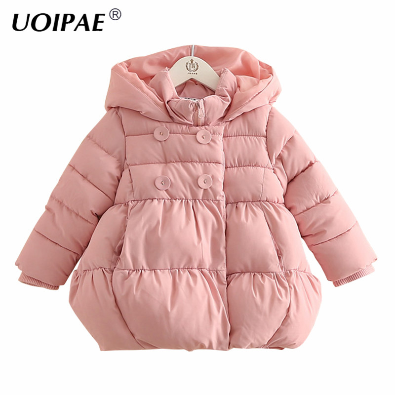 Winter Jacket For Children 2017 Fashion Star Hooded Girls Coat Kids Solid Color Long Sleeve Thick Warm Children Clothing B0694 immdos children coat for girl winter wool outerwear kids long sleeve hooded warm baby clothing girls solid fashion jacket