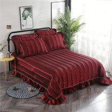 Red Gray Blue Purple Luxury European Polyester Cotton Quilted Bedspread Bed Cover Sheet Linen Blanket Pillowcases 3pcs