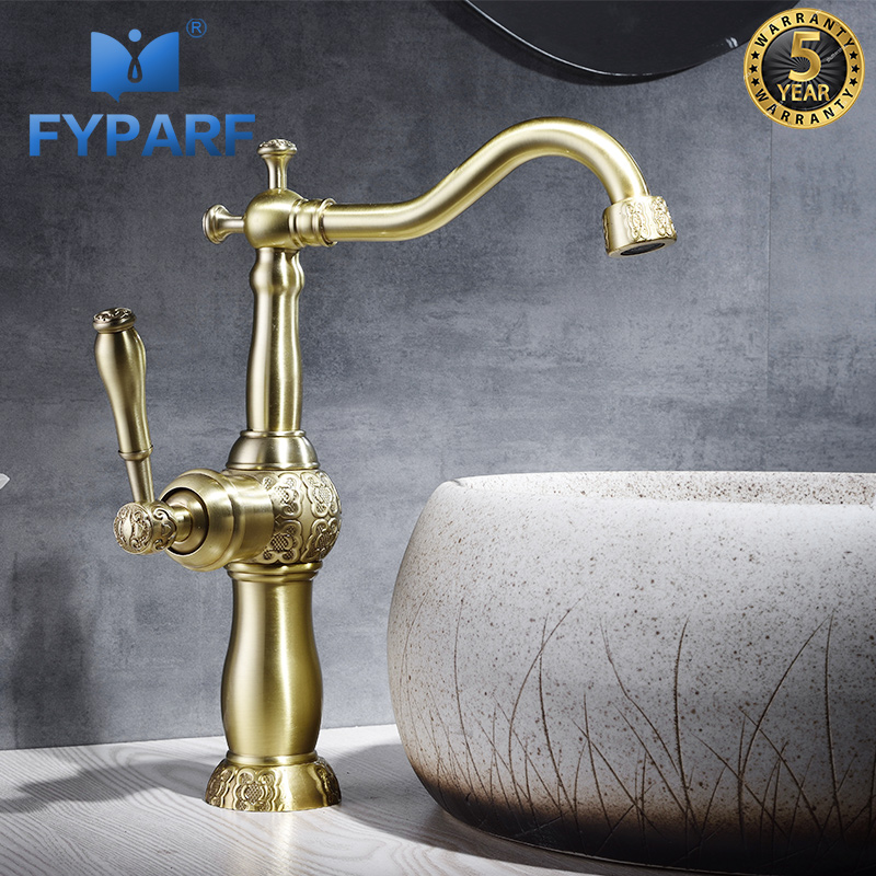 FYPARF Gold Bathroom Hot and Cold Water Washing Basin Faucet Single Handle Vintage Bathroom Tap Water Basin Mixer Deck MountedFYPARF Gold Bathroom Hot and Cold Water Washing Basin Faucet Single Handle Vintage Bathroom Tap Water Basin Mixer Deck Mounted