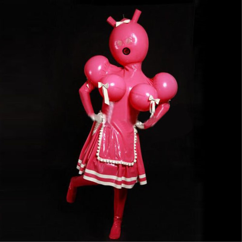 2019 Latex 100% Gummi Rubber Double layer Sexy Pink Ruffle Stuckings Hooded Overall Cosplay Customized Size S-XXL