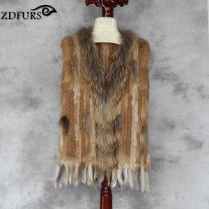 Image 5 - ZDFURS * yüksek kalite sıcak satış örme tavşan kürk yelek rakun köpek kürk yaka örme yelek tavşan kürk yelek ZDKR 165005