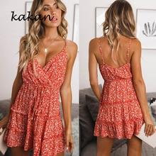 Kakan summer hot sexy women floral dress sleeveless strap dress deep V-neck tunic dress все цены