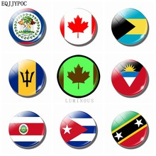 Luminous National Flag 30 MM Refrigerator Magnets Fridge Magnets Glass Belize Canada Bahamas Barbados Costa Rica Cuba Souvenir(China)