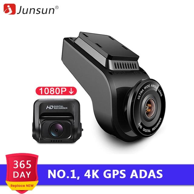 Junsun 4 к 2160 P Ultra HD GPS Автомобильные видеорегистраторы Регистраторы регистраторы Двойной объектив задняя камера для автомобиля Встроенная камера с Ночное видение ADAS Dashcam DVR 1080 sony сенсор сзади камера