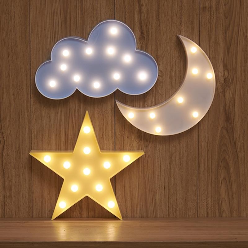 Милые облака Звезда Луна LED 3D свет ночник милые дети подарок игрушка для детей украшения спальни лампа для внутреннего освещения