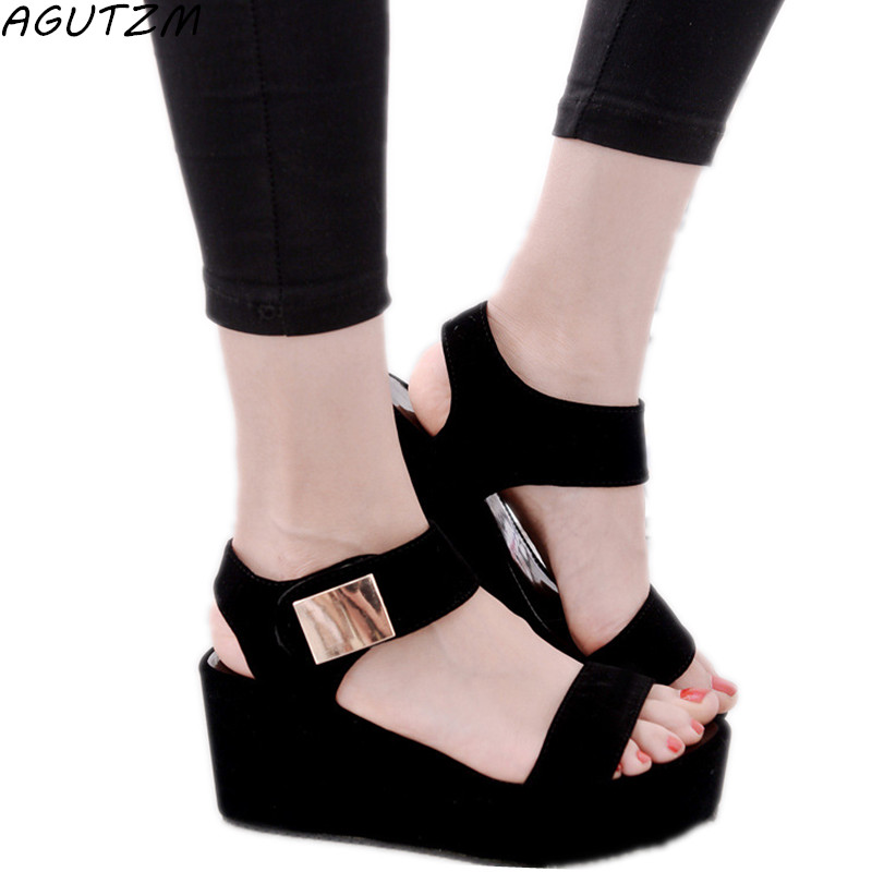 AGUTZM sandals women Summer shoes Woman wedges platform sandals Fashion Flange Rome sandals white black women shoes