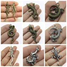Lizard Jewelry Mix Snake Earrings Pendant For Jewelry Making Diy Craft Supplies Encourage Text Tag Charms Men Jewelry Handmade 2019 mix elephant necklace pendant charms for jewelry making diy craft supplies men jewelry elephant god
