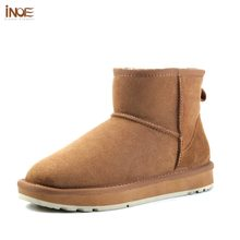 INOE Classic sheepskin leather wool fur lined women winter ankle suede snow boots for women short basic winter shoes black brown(China)