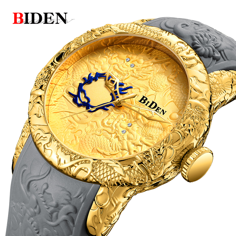 Men Watch BIDEN Top Luxury Brand Gold Dragon Watch Men Quartz Watches Big Dial Sports Wristwatch Waterproof Relogio Masculino цены